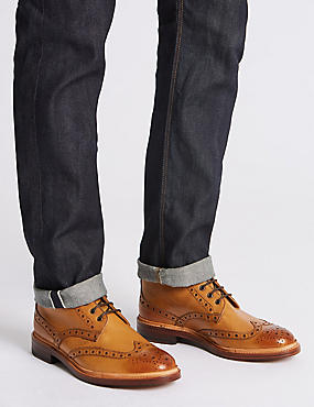 Leather Brogue Boots, TAN, catlanding