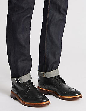 Leather Brogue Boots, BLACK, catlanding