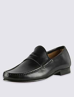 Leather Penny Slip-on Loafers, BLACK, catlanding