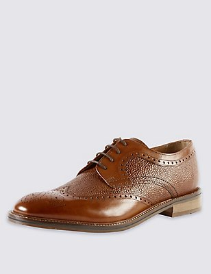 Leather Contrasting Sole Brogue Shoes, TAN, catlanding