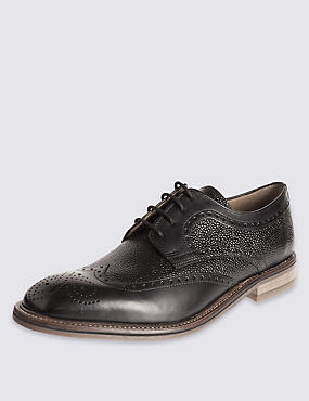 Leather Contrasting Sole Brogue Shoes, BLACK, catlanding