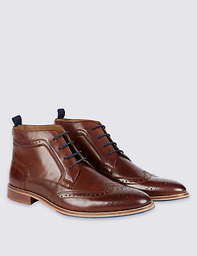 Leather Lace-up Brogue Chukka Boots, BROWN, catlanding