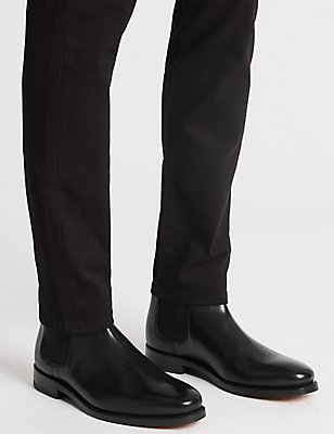 Leather Pull On Chelsea Boots, BLACK, catlanding