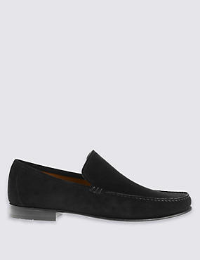 Suede Loafers, BLACK, catlanding