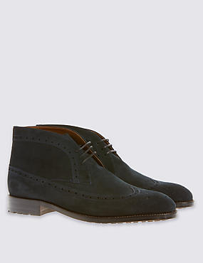 Suede Lace-up Brogue Chukka Boots, NAVY, catlanding