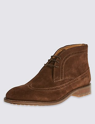 Suede Brogue Chukka Boots, BROWN, catlanding