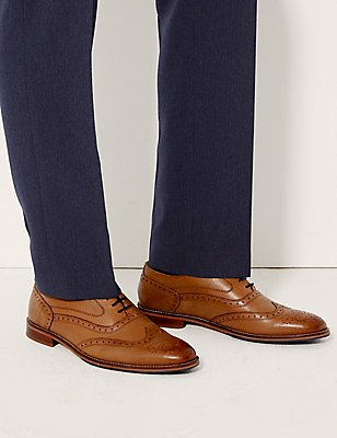 Leather Layered Sole Brogue Shoes, TAN, catlanding