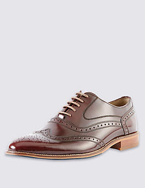 Leather Layered Sole Brogue Shoes, BURGUNDY, catlanding