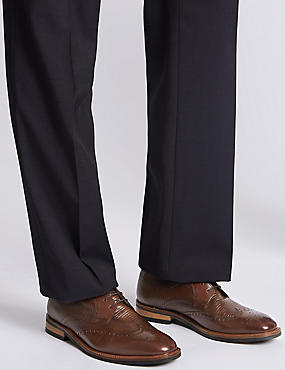 Leather Lace-up Contrast Sole Brogue Shoes, BROWN, catlanding