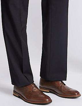Brogue-Schnürschuhe aus Leder mit Kontrastsohle, BRAUN, catlanding