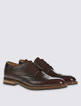 Leather Lace-up Contrast Sole Brogue Shoes, BURGUNDY, catlanding