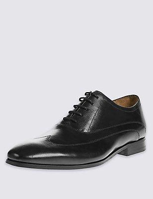 Leather Wingtip Lace-up Shoes, BLACK, catlanding