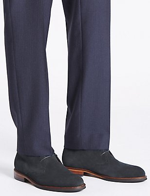 Suede Lace-up Chukka Boots, NAVY, catlanding
