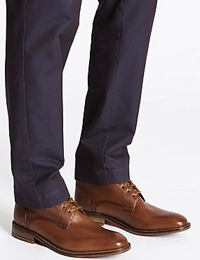 Leather Lace-up Boots, TAN, catlanding