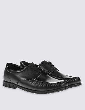 Leather 3 Eyelet Apron Lace-up Shoes  , BLACK, catlanding