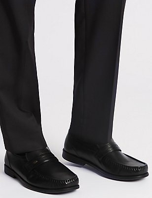 Big & Tall Extra Wide Leather Trim Loafers, BLACK, catlanding