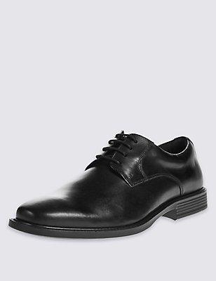 Leather Derby Lace-up Shoes, BLACK, catlanding