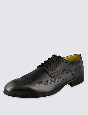 Leather Derby Brogue Shoes with Airflex™, BLACK, catlanding