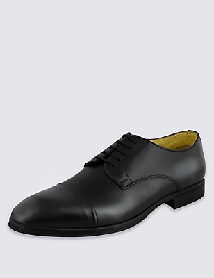 Leather Lace-up Shoes with Freshfeet™, BLACK, catlanding