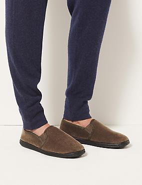 Velour Pull-on Slippers, OATMEAL, catlanding