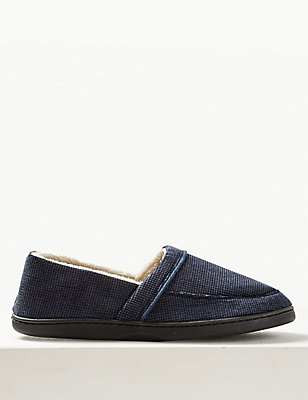 Big & Tall Slip-on Slippers with Thinsulate ™ , NAVY, catlanding