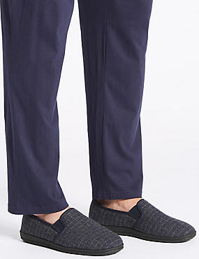 Checked Slippers, NAVY, catlanding