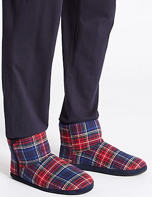 Tartan Pull-on Slipper Boots, NAVY MIX, catlanding