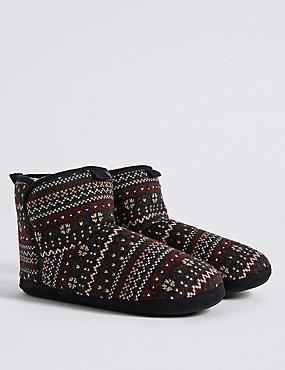 Fairisle Slipper Boots with Freshfeet™, NAVY, catlanding