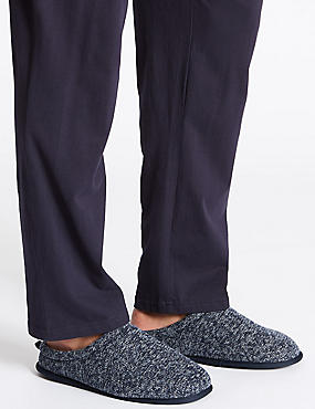 Knitted Slip-on Mule Slippers with Freshfeet™, NAVY, catlanding