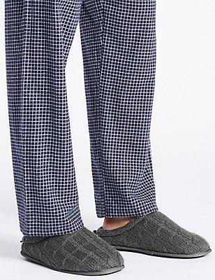 Knitted Slip-on Mule Slippers, GREY, catlanding