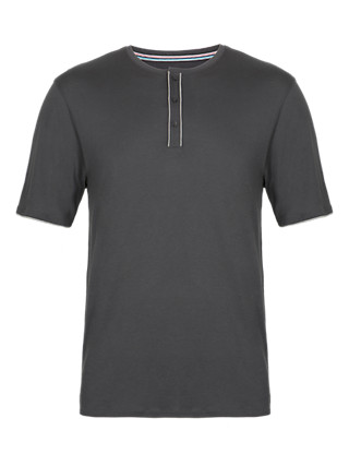Henley Neck Pyjama T-Shirt with Modal Clothing