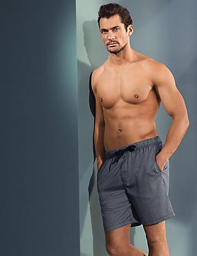 Pantalón corto de pijama ajustado de algodón Supima® con estampado de pata de gallo, MEZCLA DE TONOS AZULÓN, catlanding