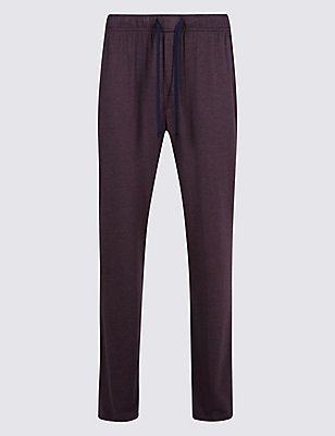 Supima® Modal Blend Striped Pyjama Bottoms, MAUVE, catlanding