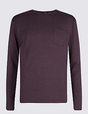 Modal Blend Striped Pyjama Top, MAUVE, catlanding