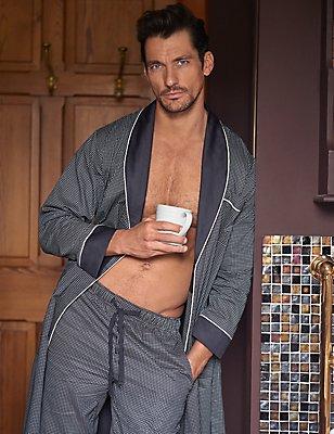 Bas de pyjama coupe slim en coton Supima® à imprimé, , catlanding