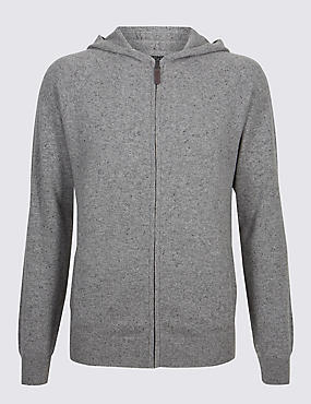 Pure Cashmere Slim Fit Hooded Top, GREY, catlanding