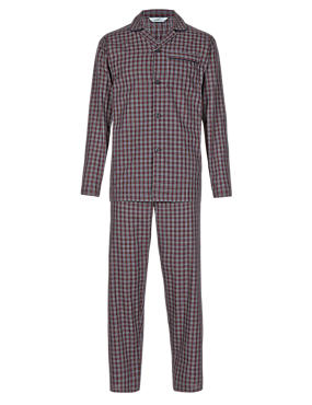 Burgundy Mix Easy Care Mini Checked Pyjamas
