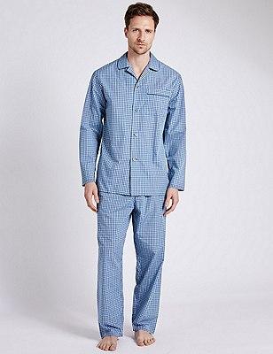 Easy Care Mini Checked Pyjamas, TEAL MIX, catlanding