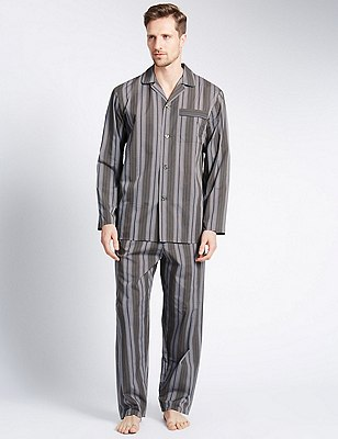 Easy Care Striped Pyjamas, NEUTRAL, catlanding