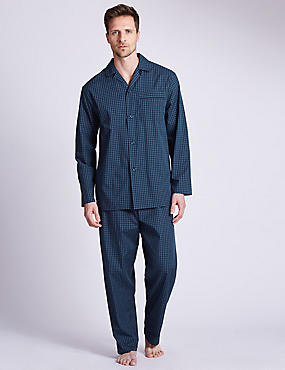 Easy Care Checked Pyjamas, NAVY, catlanding