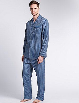 Easy Care Striped Pyjamas, MID BLUE, catlanding