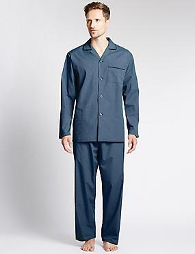 Easy Care Checked Pyjamas, TEAL MIX, catlanding