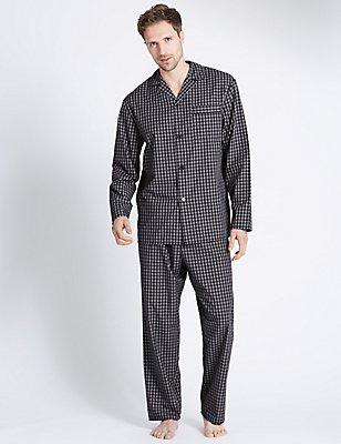 2in Longer Cotton Blend Checked Pyjamas, NAVY MIX, catlanding