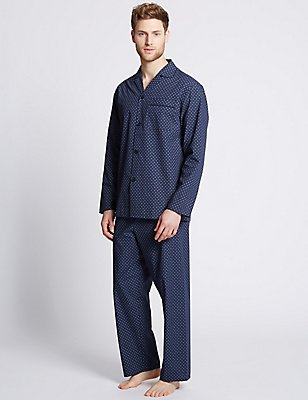 2in Longer Cotton Blend Printed Pyjamas, NAVY MIX, catlanding
