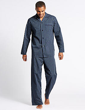 Cotton Blend Striped Pyjama Set, NAVY MIX, catlanding