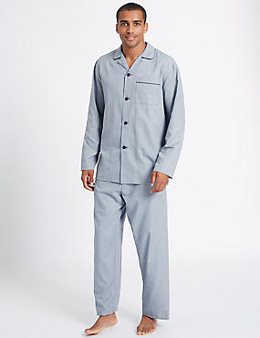 Cotton Blend Textured Pyjama Set, NAVY MIX, catlanding