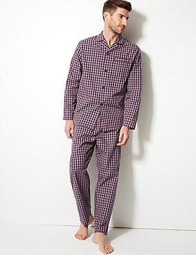 Cotton Blend Checked Pyjama Set, BURGUNDY MIX, catlanding