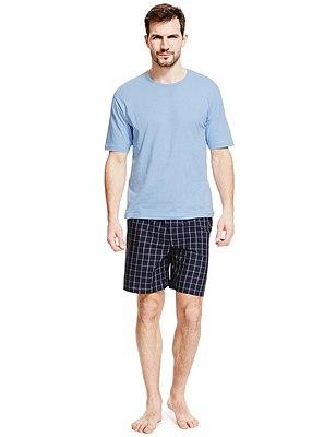 Pure Cotton T-Shirt & Checked Shorts Set , BLUE MIX, catlanding