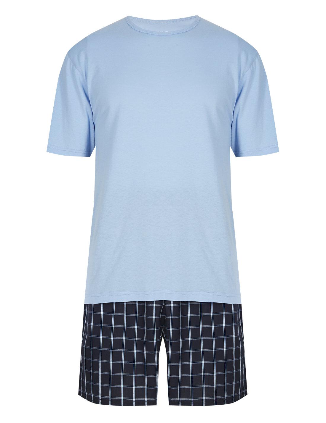 Pure Cotton T-Shirt & Checked Shorts Set | M&S