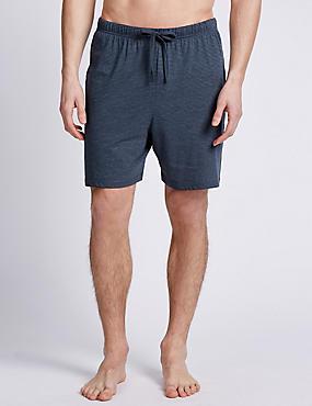 2 Pack Cotton Rich Assorted Pyjama Shorts, NAVY MIX, catlanding
